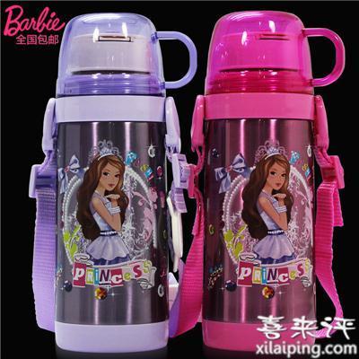 芭比保温杯学生水杯不锈钢可爱杯子水瓶女童水壶儿童保温杯