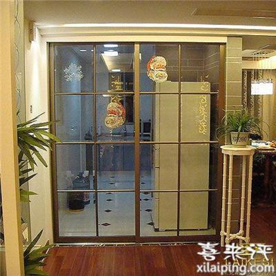 磨砂玻璃滑动阳台隔断厨房移门钛合金推拉门量身